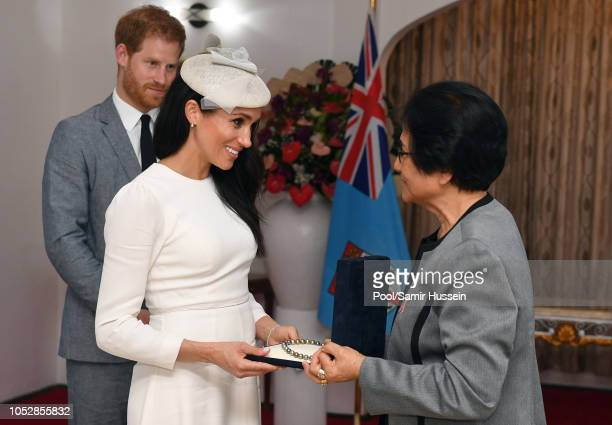 Prince Harry Duke of Sussex and Meghan Duchess of Sussex meet with President of Fiji Jioji Konrote and his wife Sarote Faga Konrote on the first day...