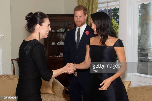 Prince Harry Duke of Sussex and Meghan Duchess of Sussex meet with Prime Minister of New Zealand Jacinda Ardern during a call by the Prime Minister...