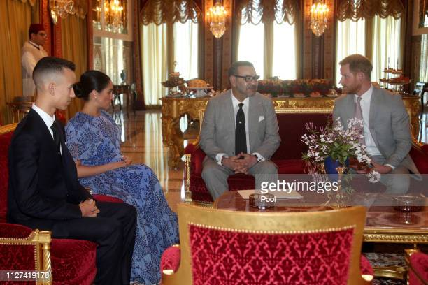 Prince Harry Duke of Sussex and Meghan Duchess of Sussex meet with King Mohammed VI of Morocco and his son Moulay Hassan Crown Prince of Morocco at...