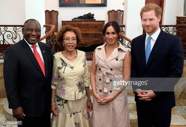 Prince Harry, Duke of Sussex and Meghan, Duchess of Sussex meet with South African President Cyril Ramaphosa and his wife Tshepo Motsepe at the...