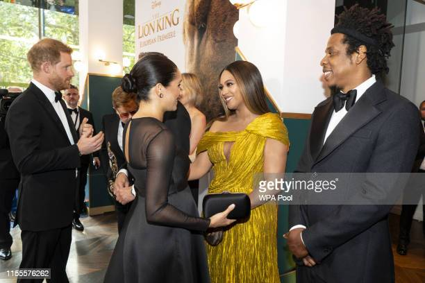 Prince Harry, Duke of Sussex and Meghan, Duchess of Sussex meets cast and crew, including Beyonce Knowles-Carter Jay-Z as they attend the European...