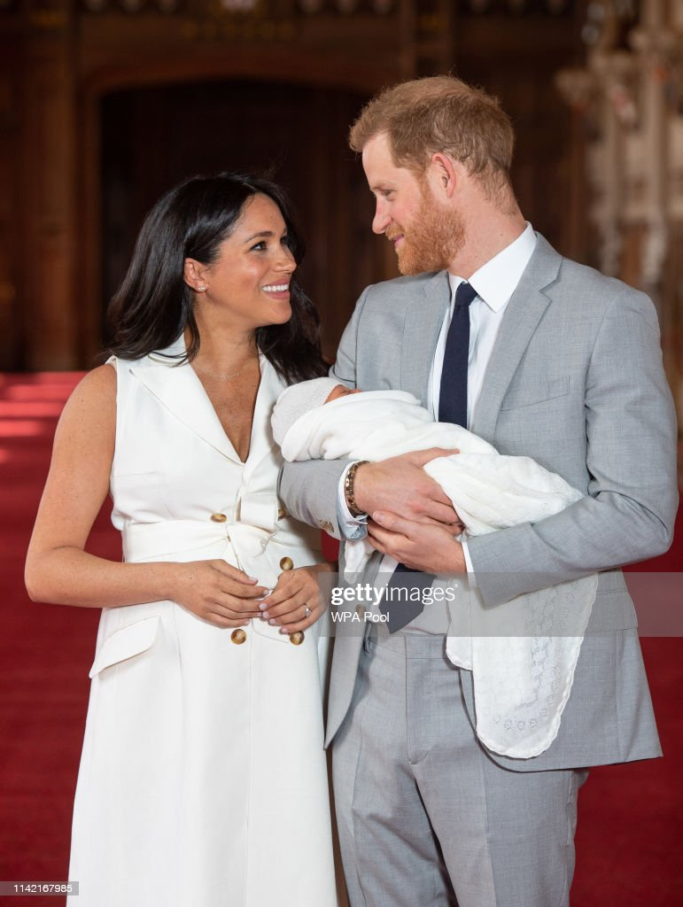 The Duke & Duchess Of Sussex Pose With Their Newborn Son : News Photo