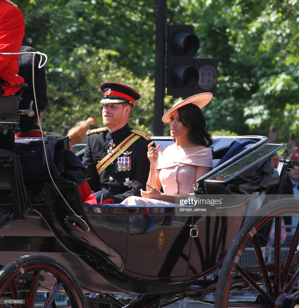 Prince Harry, Duke of Sussex and Meghan, Duchess of Sussex seen during Trooping The Colour 2018 on June 9, 2018 in London, England.