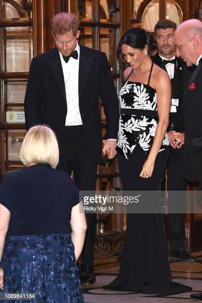 Prince Harry Duke of Sussex and Meghan Duchess of Sussex seen leaving The Royal Variety Performance 2018 at London Palladium on November 19 2018 in...