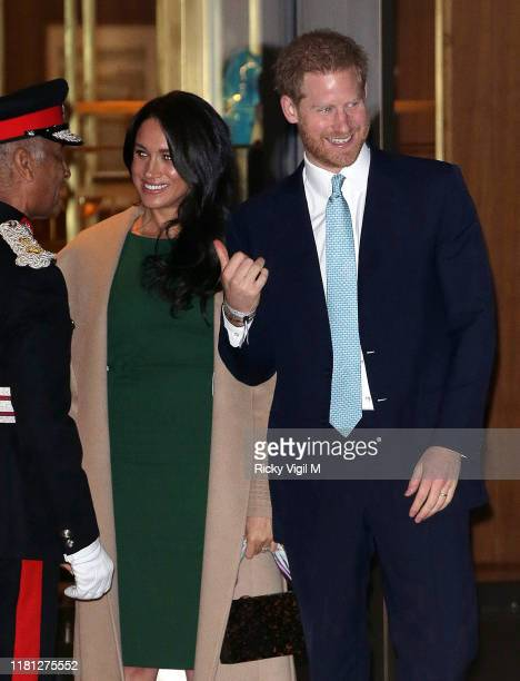 Prince Harry, Duke of Sussex and Meghan, Duchess of Sussex seen leaving the WellChild awards at Royal Lancaster Hotel on October 15, 2019 in London,...