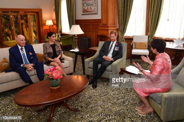 Prince Harry, Duke of Sussex, and Meghan, Duchess of Sussex speak with the Governor General of New Zealand Dame Patsy Reddy and her husband David...