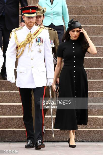Prince Harry Duke of Sussex and Meghan Duchess of Sussex take a tour alongside The Governor of New South Wales David Hurley and his wife Linda Hurley...
