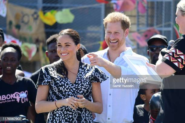 Prince Harry Duke of Sussex and Meghan Duchess of Sussex visit a Justice Desk initiative a workshop that teaches children about their rights...