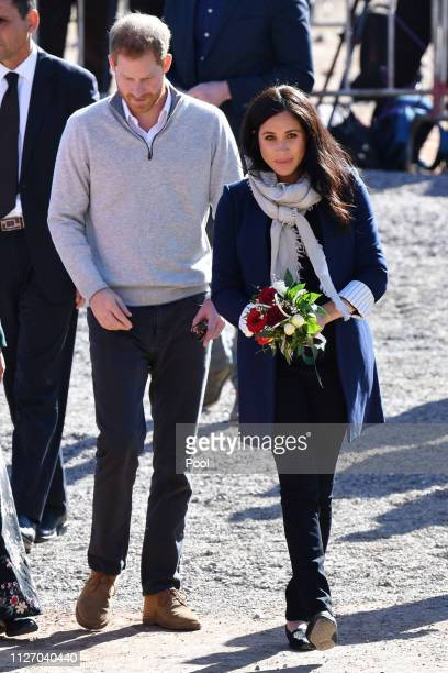 Prince Harry Duke of Sussex and Meghan Duchess of Sussex visit a boarding house in the town of Asni on February 24 2019 in Asni Morocco The Duke and...