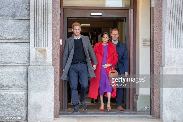 Prince Harry Duke of Sussex and Meghan Duchess of Sussex visit a new statue to mark the 100th anniversary of the death of poet Wilfred Owen which was...