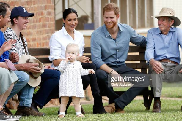 Prince Harry, Duke of Sussex and Meghan, Duchess of Sussex visit a local farming family, the Woodleys, on October 17, 2018 in Dubbo, Australia. The...