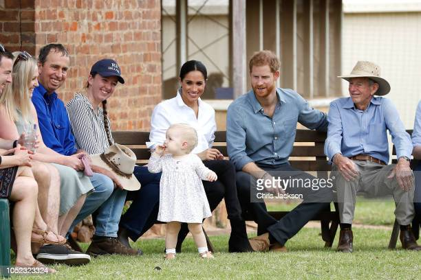 Prince Harry Duke of Sussex and Meghan Duchess of Sussex visit a local farming family the Woodleys on October 17 2018 in Dubbo Australia The Duke and...