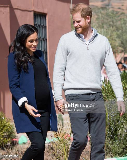 Prince Harry Duke of Sussex and Meghan Duchess of Sussex visit a local secondary school meeting students and teachers on February 24 2019 in Asni...