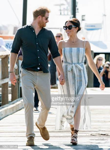 Prince Harry Duke of Sussex and Meghan Duchess of Sussex visit Kingfisher Bay Resort on October 22 2018 in Fraser Island Australia The Duke and...