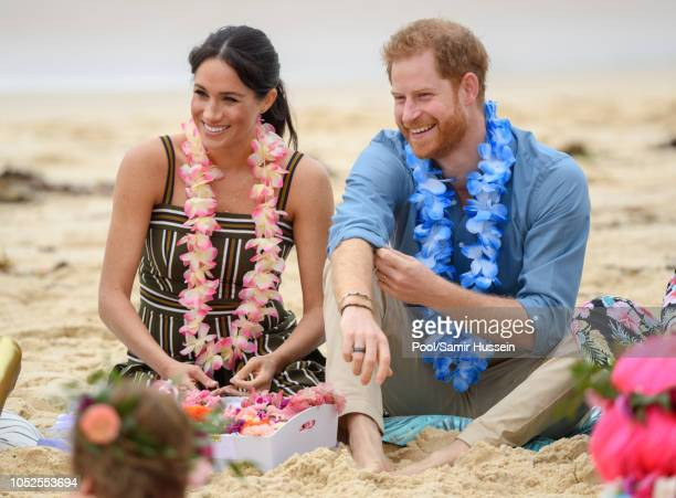 Prince Harry, Duke of Sussex and Meghan, Duchess of Sussex visit Bondi beach on October 19, 2018 in Sydney, Australia. The Duke and Duchess of Sussex...