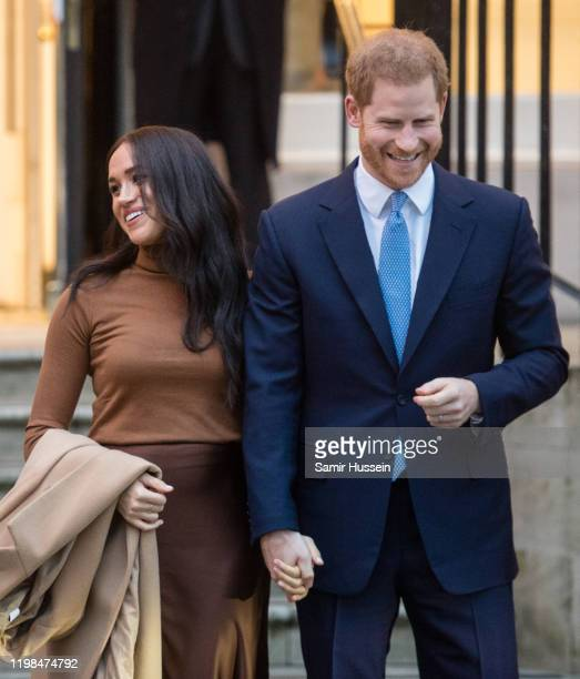 Prince Harry Duke of Sussex and Meghan Duchess of Sussex visit Canada House on January 07 2020 in London England
