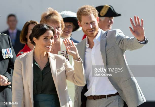 Prince Harry, Duke of Sussex and Meghan, Duchess of Sussex visit Edes House during an official visit to Sussex on October 3, 2018 in Chichester,...