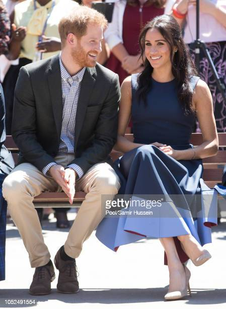 Prince Harry Duke of Sussex and Meghan Duchess of Sussex visit Macarthur Girls High School on October 19 2018 in Sydney Australia The Duke and...