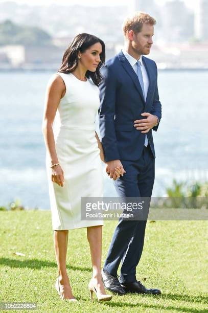 Prince Harry Duke of Sussex and Meghan Duchess of Sussex visit Admiralty House on October 16 2018 in Sydney Australia The Duke and Duchess of Sussex...