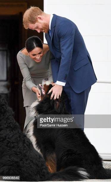 Prince Harry Duke of Sussex and Meghan Duchess of Sussex visit Irish President Michael Higgins and his wife Sabina Coyne at Aras an Uachtarain during...
