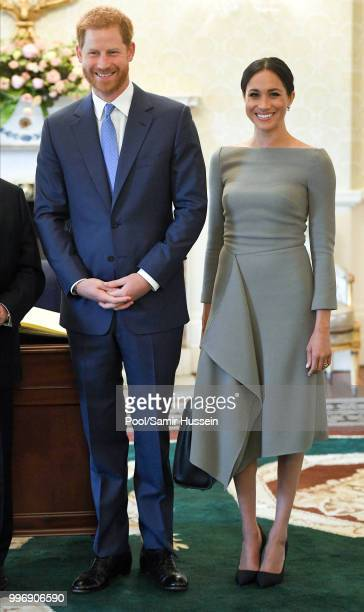 Prince Harry, Duke of Sussex and Meghan, Duchess of Sussex visit Irish President Michael Higgins and his wife Sabina Coyne at Aras an Uachtarain...