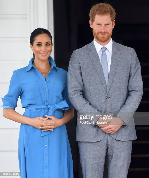 Prince Harry Duke of Sussex and Meghan Duchess of Sussex visit King Tupou VI and Queen Nanasipau'u Tuku'aho of Tonga on October 26 2018 in Nuku'alofa...