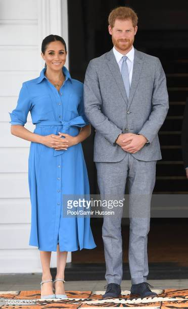 Prince Harry, Duke of Sussex and Meghan, Duchess of Sussex visit King Tupou VI and Queen Nanasipau'u Tuku'aho of Tonga on October 26, 2018 in...