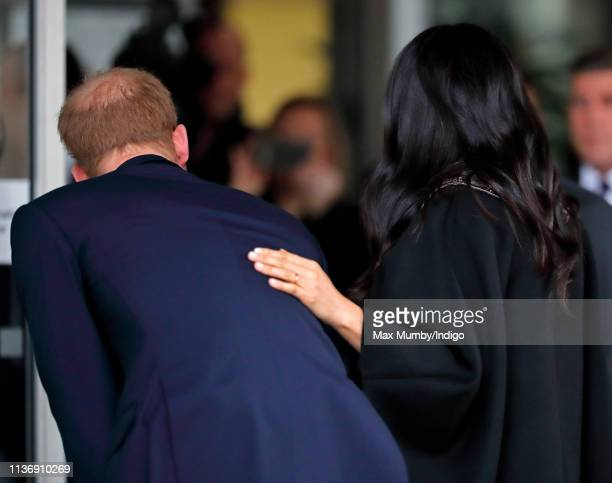 Prince Harry Duke of Sussex and Meghan Duchess of Sussex visit New Zealand House to sign a book of condolence on behalf of The Royal Family following...