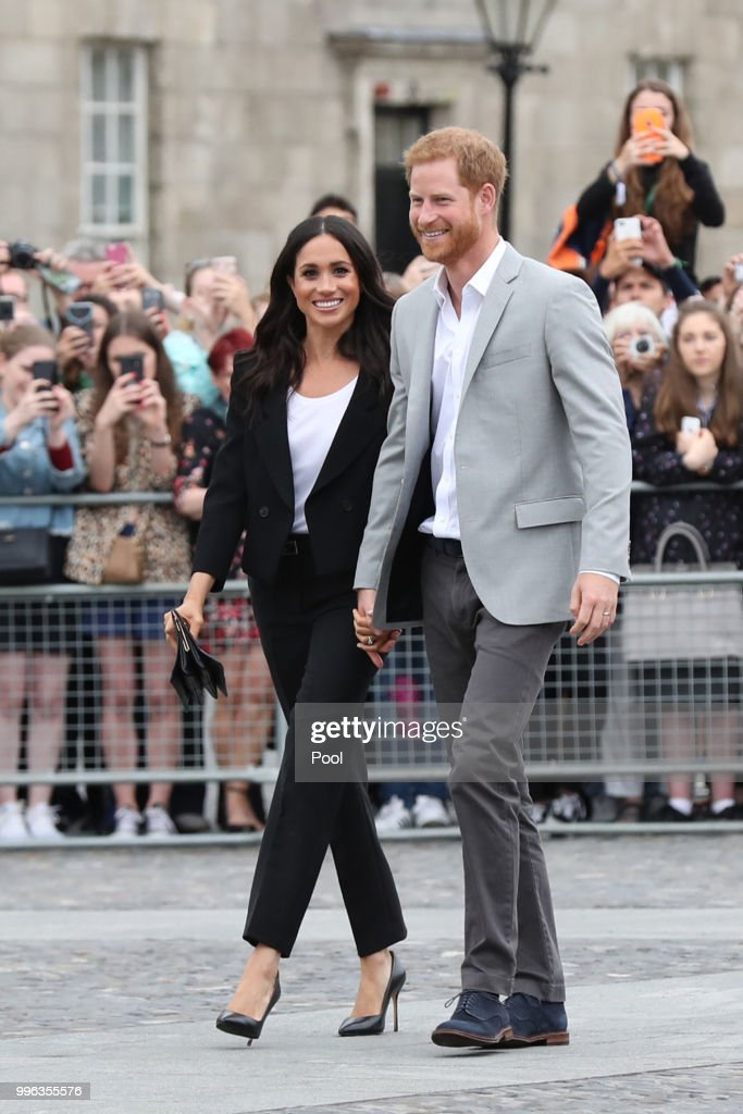 Prince Harry, Duke of Sussex and Meghan, Duchess of Sussex visit Trinity College on the second day of their official two day royal visit to Ireland on July 11, 2018 in Dublin, Ireland. It is the royal couple's first foreign trip together since they were married earlier this year.