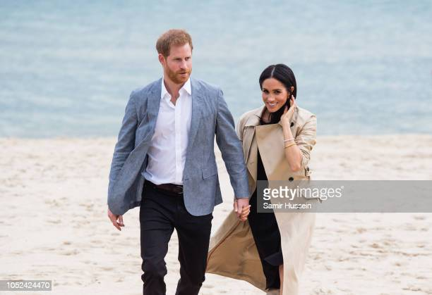 Prince Harry Duke of Sussex and Meghan Duchess of Sussex visit South Melbourne Beach on October 18 2018 in Melbourne Australia The Duke and Duchess...