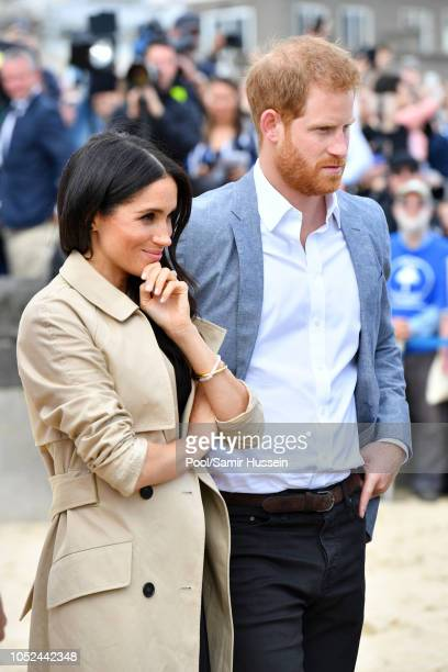 Prince Harry Duke of Sussex and Meghan Duchess of Sussex visit South Melbourne Beach October 18 2018 in Melbourne Australia The Duke and Duchess of...