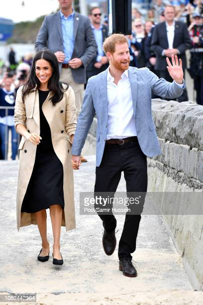 Prince Harry, Duke of Sussex and Meghan, Duchess of Sussex visit South Melbourne Beach October 18, 2018 in Melbourne, Australia. The Duke and Duchess...