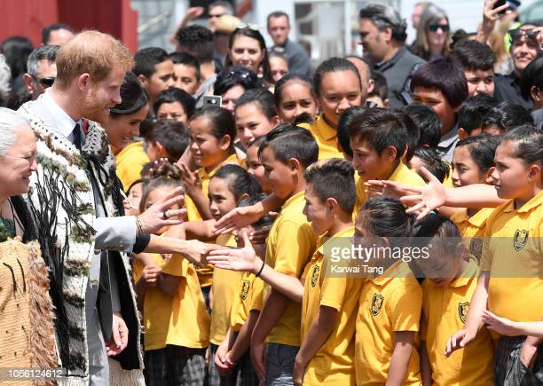 Prince Harry Duke of Sussex and Meghan Duchess of Sussex visit Te Papaiouru Marae for a formal powhiri and luncheon on October 31 2018 in Rotorua New...