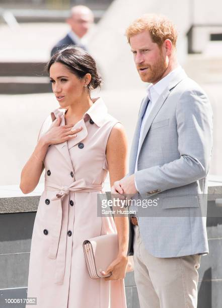 Prince Harry Duke of Sussex and Meghan Duchess of Sussex visit The Nelson Mandela Centenary Exhibition at Southbank Centre on July 17 2018 in London...