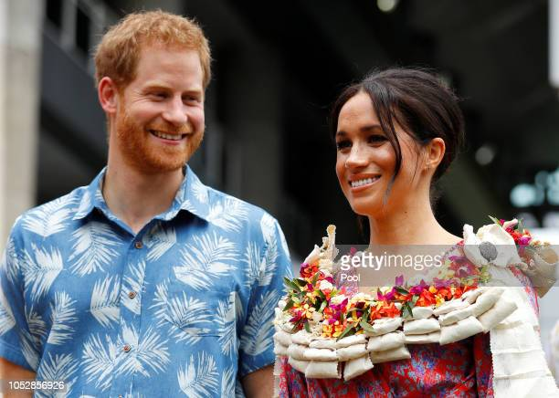 Prince Harry, Duke of Sussex and Meghan, Duchess of Sussex visit the University of the South Pacific on October 24, 2018 in Suva, Fiji. The Duke and...