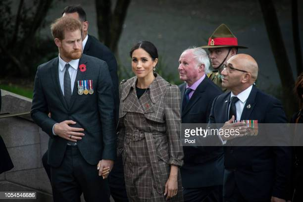 Prince Harry, Duke of Sussex and Meghan, Duchess of Sussex visit the newly unveiled UK war memorial and Pukeahu National War Memorial Park on October...
