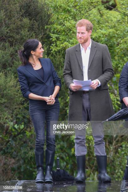 Prince Harry Duke of Sussex and Meghan Duchess of Sussex visit the North Shore to dedicate a 20hectare area of native bush to The QueenÕs...