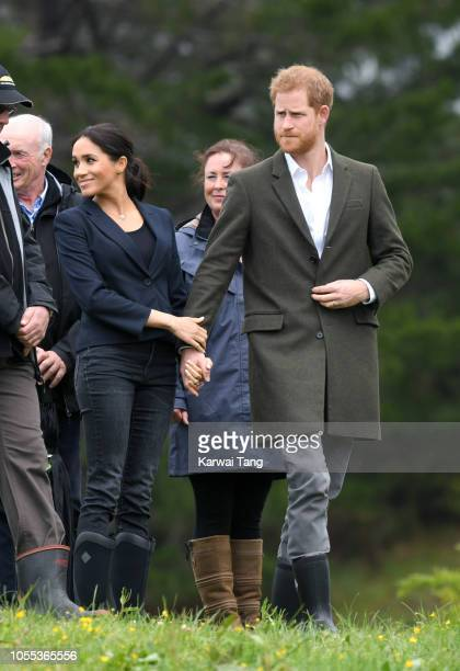 Prince Harry Duke of Sussex and Meghan Duchess of Sussex visit the North Shore to dedicate a 20hectare area of native bush to The Queen's...