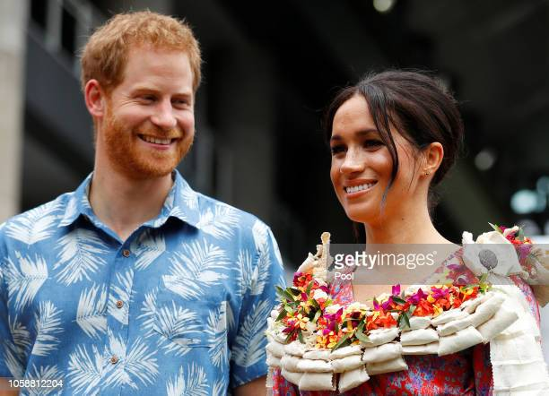 Prince Harry Duke of Sussex and Meghan Duchess of Sussex visit the University of the South Pacific on October 24 2018 in Suva Fiji The Duke and...