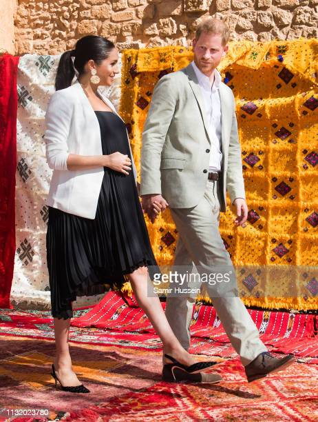 Prince Harry Duke of Sussex and Meghan Duchess of Sussex visit the Andalusian Gardens to hear about youth empowerment in Morocco from a number of...