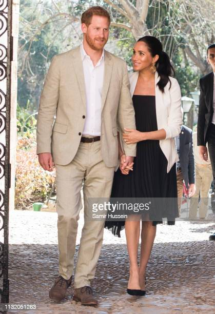 Prince Harry, Duke of Sussex and Meghan, Duchess of Sussex visit the Andalusian Gardens to hear about youth empowerment in Morocco from a number of...
