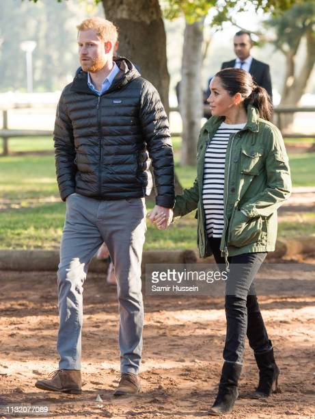 Prince Harry, Duke of Sussex and Meghan, Duchess of Sussex visit the Moroccan Royal Federation of Equestrian Sports to learn more about Morocco's...