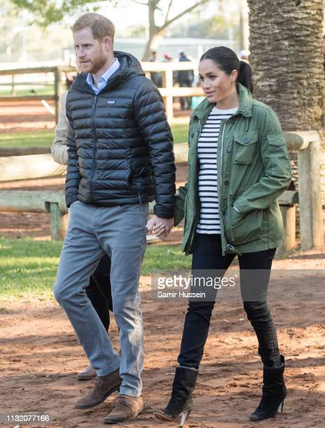 Prince Harry Duke of Sussex and Meghan Duchess of Sussex visit the Moroccan Royal Federation of Equestrian Sports to learn more about Morocco's...