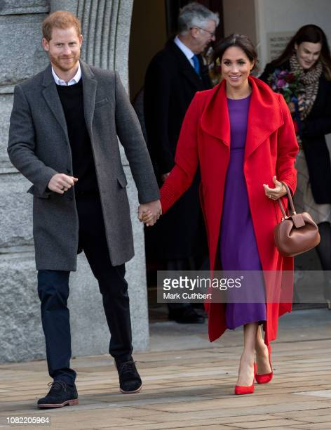 Prince Harry, Duke of Sussex and Meghan, Duchess of Sussex visit Hamilton Square to view a new sculpture erected in November to mark the 100th...