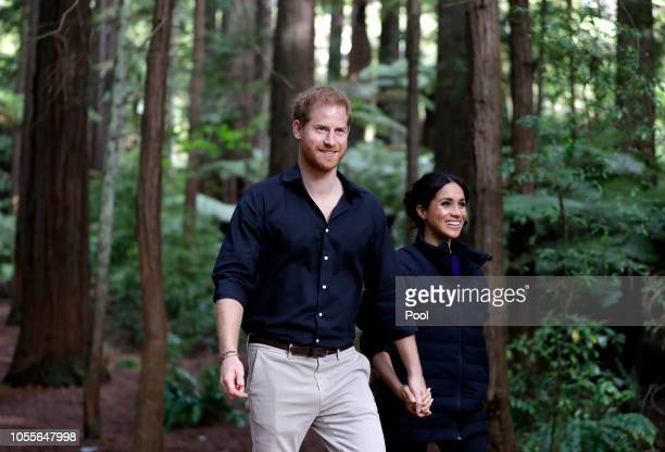 Prince Harry, Duke of Sussex and Meghan, Duchess of Sussex visit Redwoods Tree Walk on October 31, 2018 in Rotorua, New Zealand. The Duke and Duchess...
