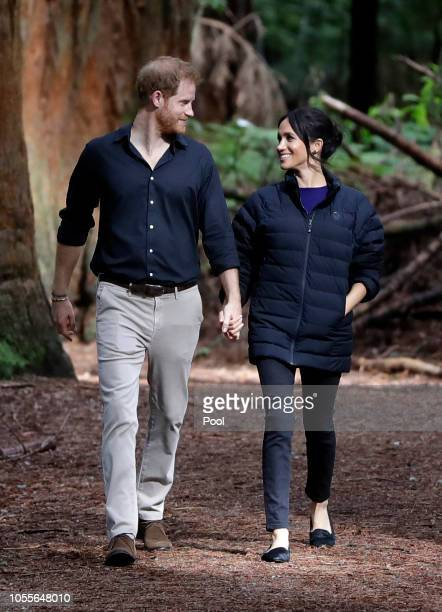 Prince Harry Duke of Sussex and Meghan Duchess of Sussex visit Redwoods Tree Walk on October 31 2018 in Rotorua New Zealand The Duke and Duchess of...
