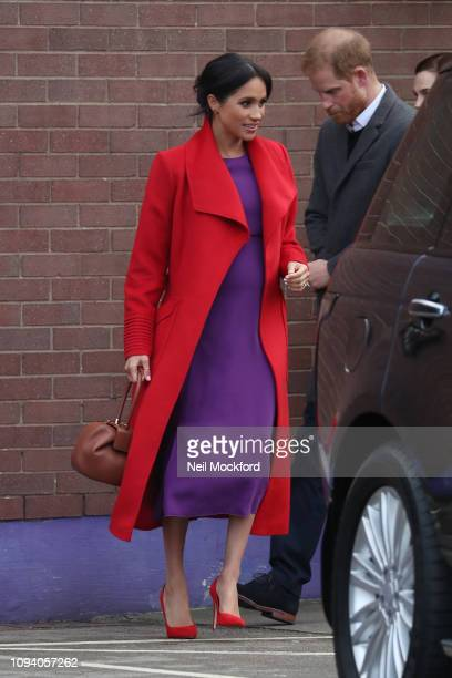 Prince Harry, Duke of Sussex and Meghan, Duchess of Sussex visit 'Tomorrow's Women Wirral' Charity on January 14, 2019 in Birkenhead, United Kingdom.
