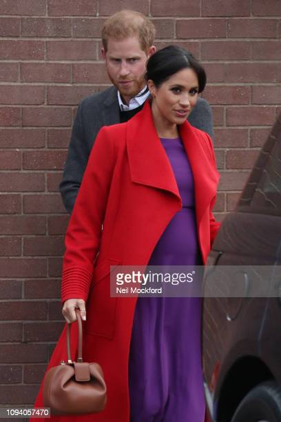 Prince Harry Duke of Sussex and Meghan Duchess of Sussex visit 'Tomorrow's Women Wirral' Charity on January 14 2019 in Birkenhead United Kingdom