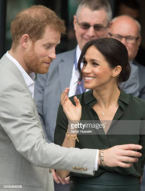 Prince Harry Duke of Sussex and Meghan Duchess of Sussex visits University of Chichester's Engineering and Digital Technology Park during an official...