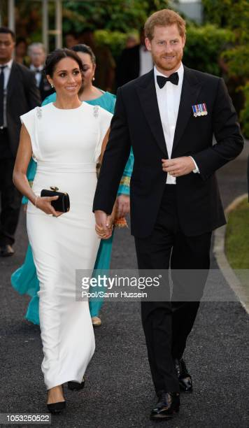 Prince Harry, Duke of Sussex and Meghan, Duchess of Sussex visits the Consular House in NukuÕalofa for a private audience with King Tupou VI and...